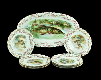 Antique Bawo & Dotter Imperial Crown China Austria Porcelain Fish and Floral Pattern Oval Platter and Set of 8 Plates