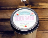English Garden Soy Wax Candle in 8 oz. Jelly Jar - Floral Garden Candle for Valentine's Day, Mother's Day, Birthday, Housewarming, Hostess