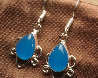 Blue Chalcedony silver plated earrings (#J948)