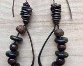 Tribal Dangle Earrings, boho jewelry, plugs, rustic drop earrings, gypsy earrings, modern primitive copper earrings, brown black