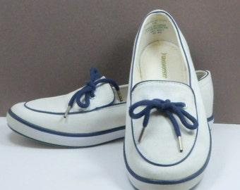 Sale Grasshopper Women's White Blue Canvas Shoes Flats Loafers US Size 5 Wide