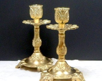Sale Candle Holders Candlesticks Brass Ornate Floral Footed Round Base Vintage 1920s Spain
