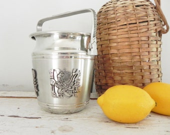 Silver and Pewter Bolivian Ice Bucket - Home Entertaining - Hollywood Regency Style
