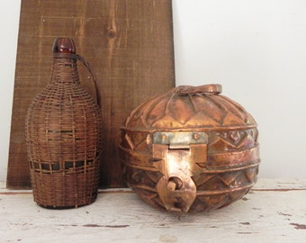 Copper and Metal Farmer Grain Pail - Middle Eastern Copper