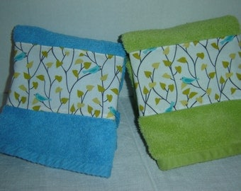 Turquoise/aqua or lime green hand/dish towel, fabric panel w/bluebirds on tree branches, cotton terry, hostess or shower gift, under 10