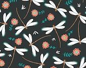 Gypsy Lane - Dark Slate Dragonflies by Jane Farnham from Camelot Fabrics
