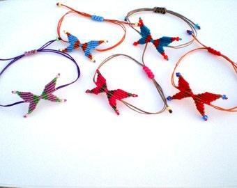 Macrame bracelet Macrame butterfly Adjustable Stackable Hippie bracelet Gypsy jewelry Summer gif Boho Macrame jewelry Colorful Party favors