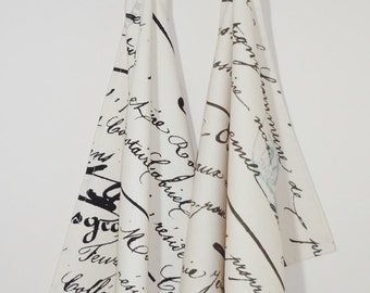 Decorative French Script Tea Towels Kitchen Towels Wedding Gift Penmanship Tea Towels