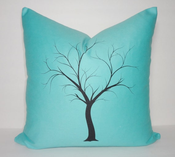 Decorative Tree Print Throw Pillow Cover Aqua Blue Solid Black