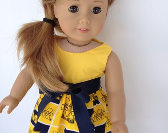 18 inch Doll Dress of University of Michigan fabric,  made to fit 18 inch dolls such as American Girl and similar 18 inch dolls