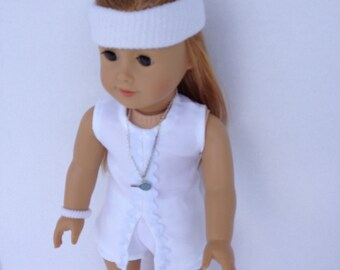 18 inch Doll Tennis Outfit, White Tennis Outfit,  made to fit 18 inch dolls such as American Girl and similar 18 inch dolls