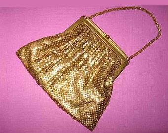 Vintage Whiting & Davis Evening Purse Handbag and Dangle Earrings
