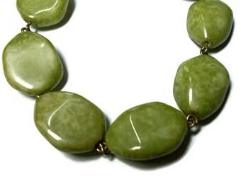 Vintage Green Stone Bracelet Olive Boho Hipster 1960s