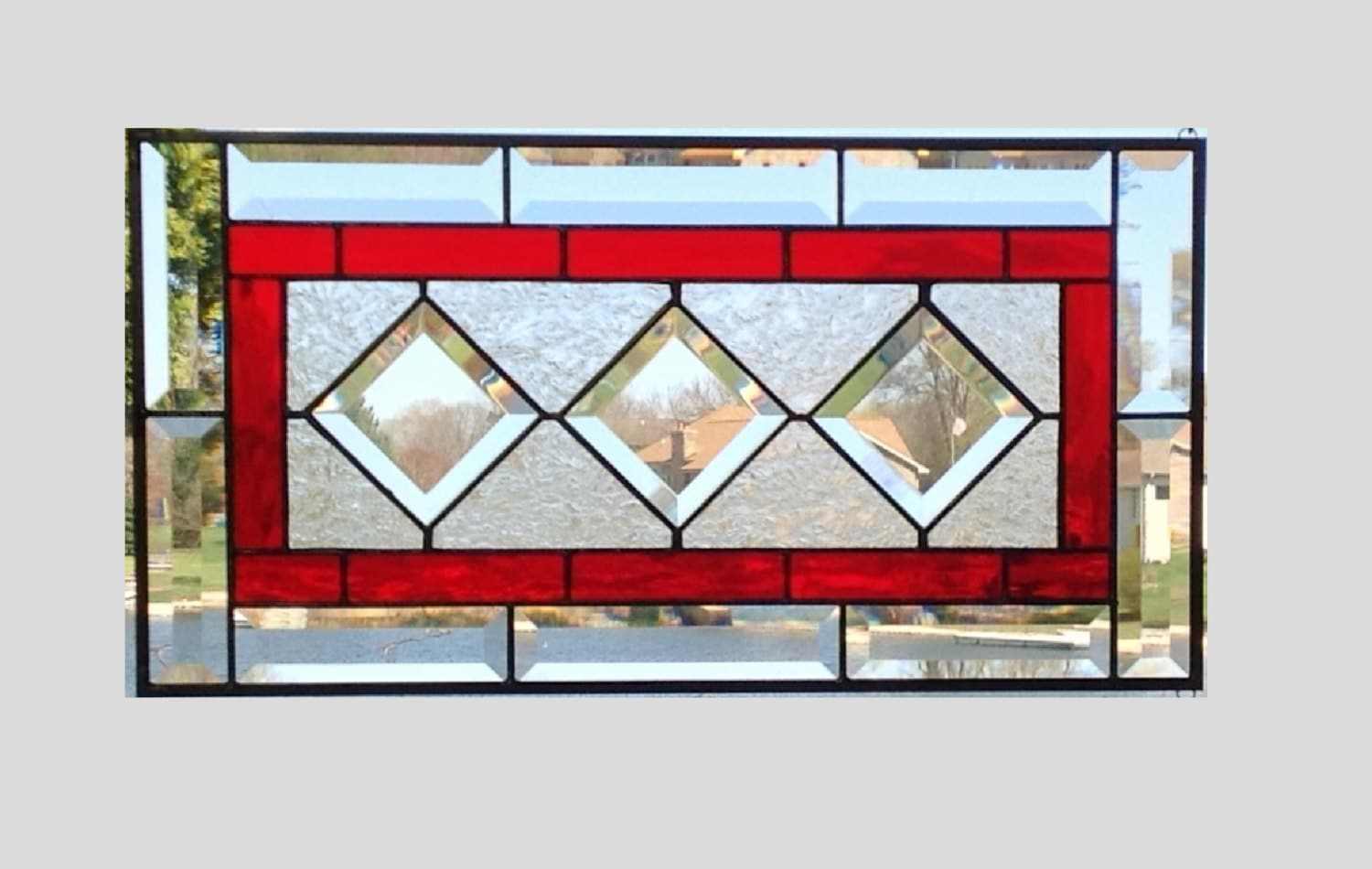 Red stained glass window panel diamond geometric by SGHovel