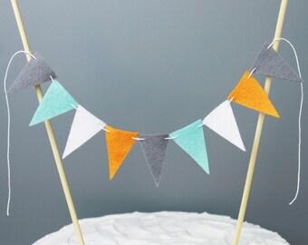 Orange Grey Teal and White Cake Topper Bunting, Boy Birthday Cake Topper, Wedding Cake Banner Topper, Boy Baby Shower Cake Bunting