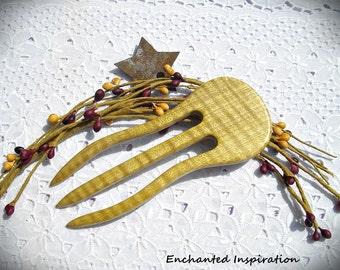 Figured Satinwood Handmade Hair Fork
