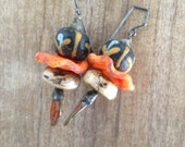 Handmade African Trade Bead, Vintage Conch Shell, Artisan Crusty Discs, and Czech Glass Oxidized Earwire