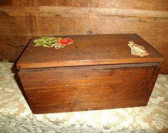 antique wooden box , child's work box , Victorian scrap decoration