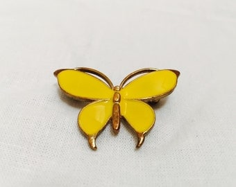 Vintage 70s Yellow Enamel Butterfly Brooch