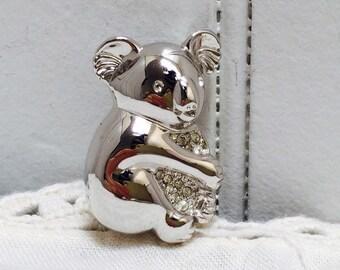 Vintage Silver & Rhinestone Koala Brooch