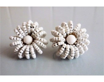Vintage 1960s Beaded White Flower Earrings