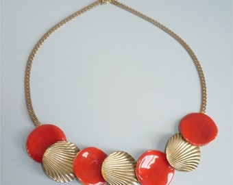 Vintage 1960s Red Enamel & Gold Shell Necklace