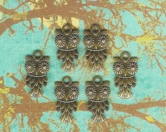 Antique Gold Owl Charm- 6 pieces
