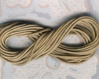 3 Yard Section, 1mm Tan Waxed Cotton Cord, Supreme 1mm Tan Cord Waxed Cotton, 1mm Brown Cord, 1mm Beige Cotton Cord