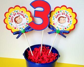 3 Curious George Birthday Party Centerpiece Sticks