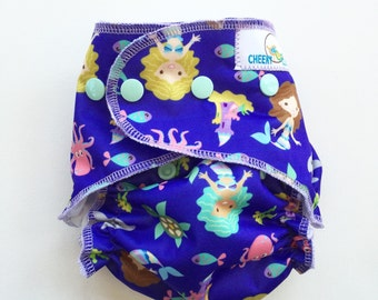 "One Size Cheeky Cloth Swim Diaper ""Mermaids"""