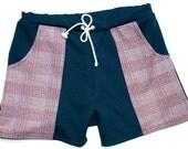 Frankie Four Handmade Vintage Style Men's Navy Blue Swim Trunks