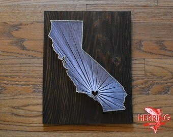 Stained California State String Art - Los Angeles, California - Stained Nail Art - City of Angels