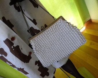 Handbag 1960s white beaded Brady Bunch