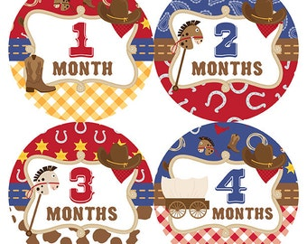 FREE GIFT, Baby Month Stickers, Baby Month Stickers, Boy, Western, Horse, Cowboy Hat, Red, Blue, Brown, Monthly Baby Sticker, Milestones