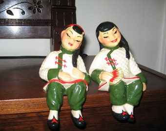 VINTAGE ASIAN SHELF Sitters, Ceramic Arts Studio 1940's