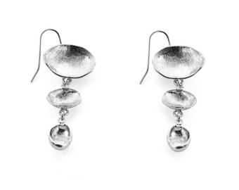 Silver Dangle Earrings, silver earrings, silver dangle earrings, silver drop earrings, silver shell earrings, abstract earrings