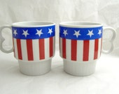 Patriotic Coffee Cups, Red White and Blue Stacking Coffee Cups, Stars & Stripes Coffee Cups, Uncle Sam Coffee Cups, American Flag Cups