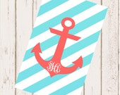 Personalized Beach Towel 30x60 - Anchor with Diagonal Stripes