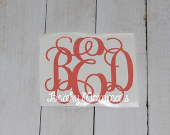 Coral Car Decal Sticker Monogram of Your Choice In Your Size