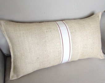 BURLAP PILLOW 11x20 ivory with orange tape trim