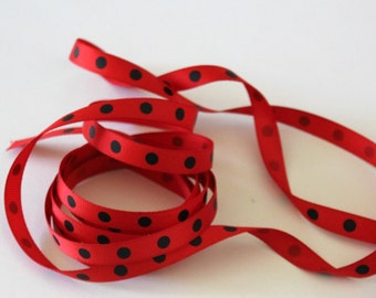 """3/8"""" Dotted Grosgrain Ribbon - Red with Black Dots - 5 yards"""
