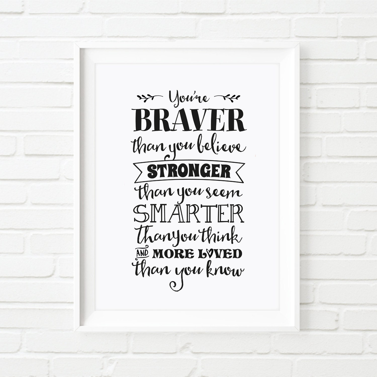 Winnie The Pooh Quote Art: Printable Art Winnie The Pooh Quote Youre Braver Than You