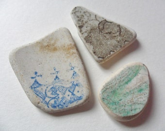 3 lovely patterned sea pottery - Blue, brown & green English beach find pieces
