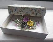 Boxed Signed Exquisite Brooch, Bunch of Pansies, Flower of the Month for May, Cold Enamel Brooch
