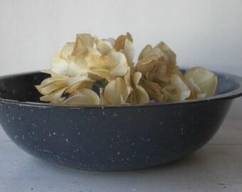 Vintage Blue Speckled Enamel Bowl