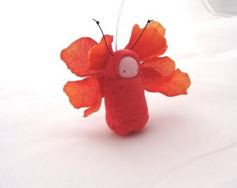 Fairie baby ornament  butterfly child red fairy cute FB1