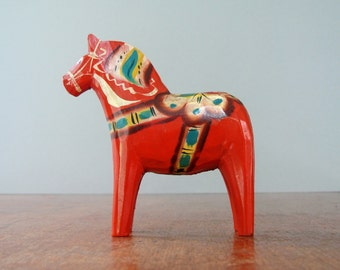 Older Vintage Swedish Dala Horse - Orange 5 Inch