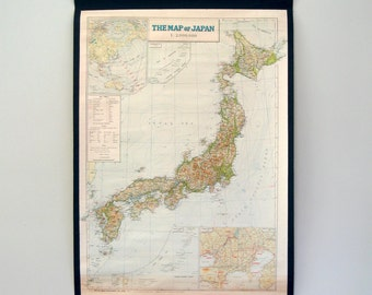 Mid Century Linen Backed Map of Japan 1964