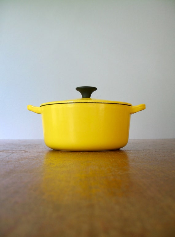 Vintage Le Creuset Golden Yellow Enamel Casserole Dutch By Luola