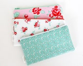 Zipper Pouch, Pencil Pouch, Pencil Case, Mint Pink Red Floral, College, Teachers, Kids, School Supplies, Teens, Women, Organize